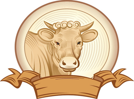 graphical: Graphical cow. Vector object to label or trademarks. Illustration