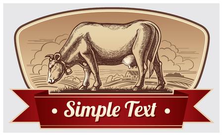 Grafische koe. Label design. Stock Illustratie