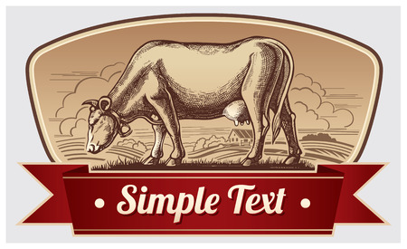 cow vector: Graphic cow. Label design.