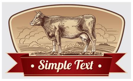 Graphic cow. Label design.