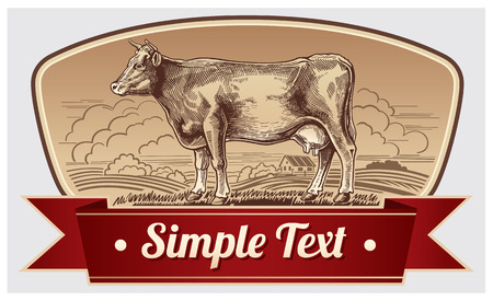 Graphic cow. Label design.