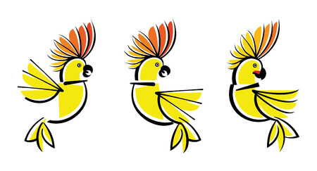 cockatoo: Set symbol Illustration of three parrots of a Cockatoo.