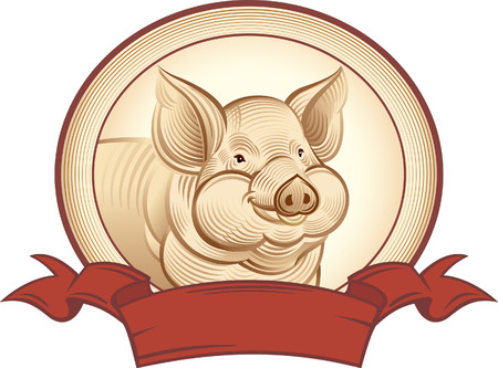 bezel: Graphical pig. Vector object to label or trademarks.