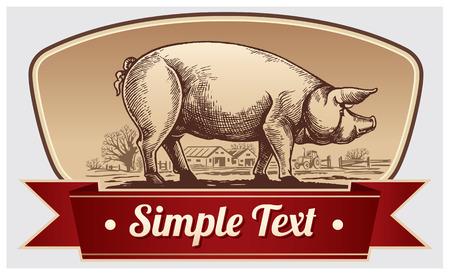 Cerdo gráfica y el paisaje rural en un marco. Vector objeto etiqueta o marcas registradas.