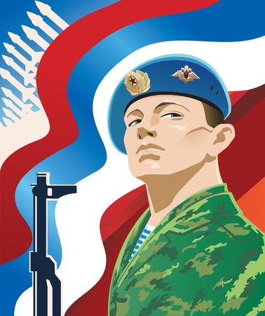 fallschirmj�ger: Russischer Soldat auf dem Hintergrund der russischen Flagge. Illustration