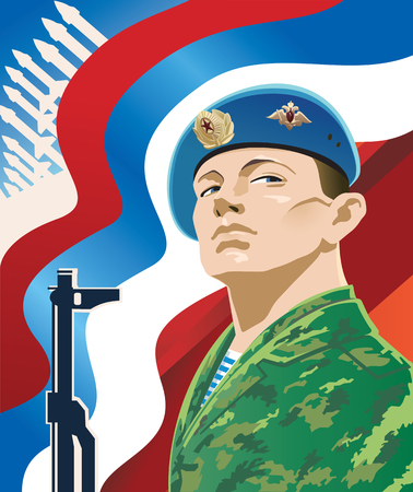 Russian soldier on the background of the Russian flag. Illustration