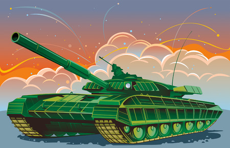 tank: Tank, against the backdrop of fighting. Illustration