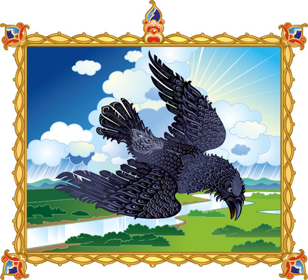 nobleness: Epic raven flying in thundercloud Illustration
