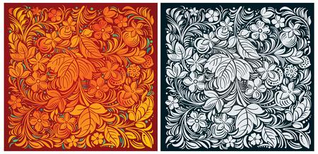 monochrome: Russian traditional ornamental background color and monochrome.
