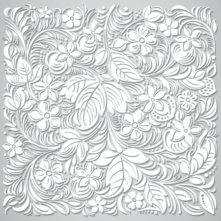 cut flowers: Russian traditional ornamental. Background imitation of cut paper.