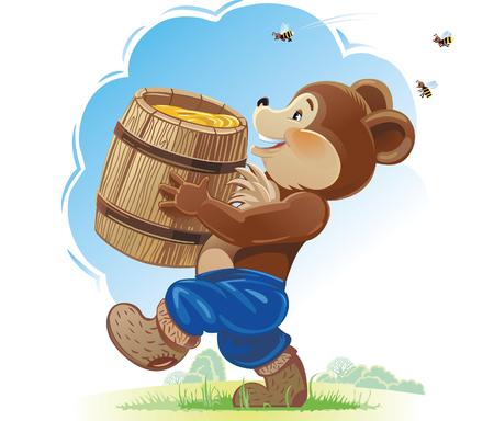 ourson: Ourson et le miel. caractère heureux.