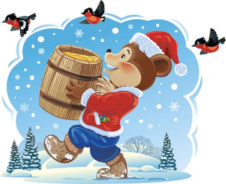 botas de navidad: cachorro de oso y la miel vestido como Santa Claus. Vectores