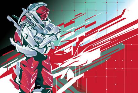 Robot rosso sullo sfondo costruttiva.