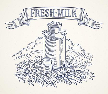 """granja: Latas de leche con la inscripci�n: """"leche fresca"""" y vaso de leche. Ilustraci�n del vector en estilo gr�fico."""