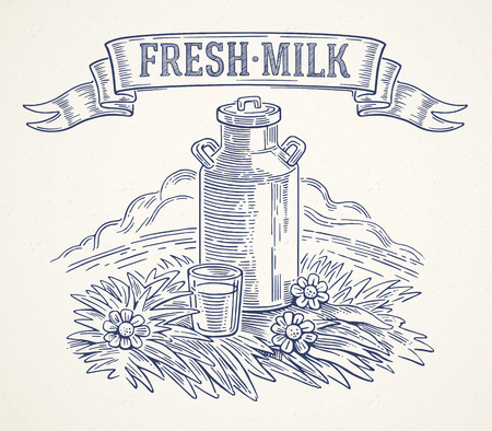 Milk cans with the inscription: Fresh milk and glass of milk. Vector illustration in graphical style. Çizim