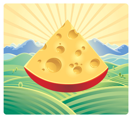 Cheese on the nature background.