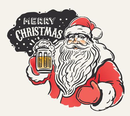 손에 맥주 잔과 유쾌한 산타 클로스입니다. 메리 크리스마스!