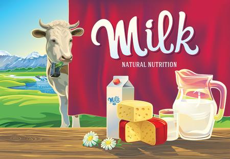 leche y derivados: Conjunto de productos lácteos. Con una vaca, y el paisaje de montaña. Vectores
