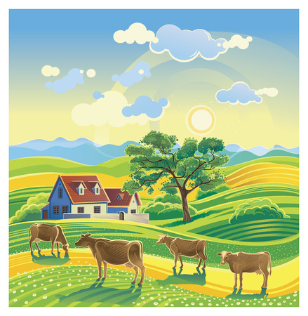 농촌 여름 풍경과 소. 일러스트