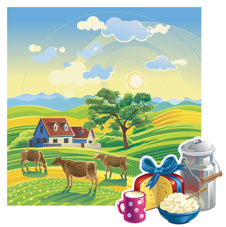 dairy products: Rural summer landscape and set dairy products.