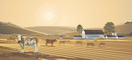農村の風景です。ファーム。  イラスト・ベクター素材