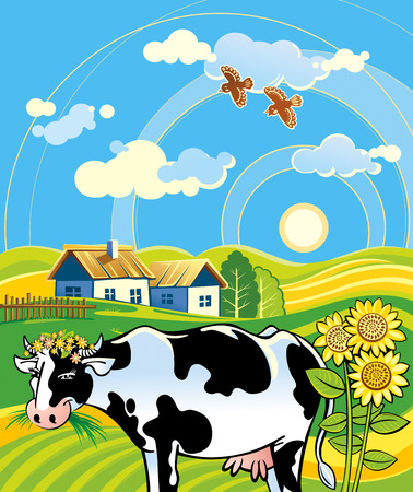 house illustration: Summer rural landscape with cheerful cow. Illustration