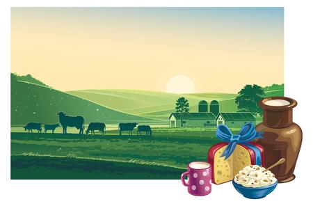 Zomer ochtend. landschap met koeien en zuivelproducten.