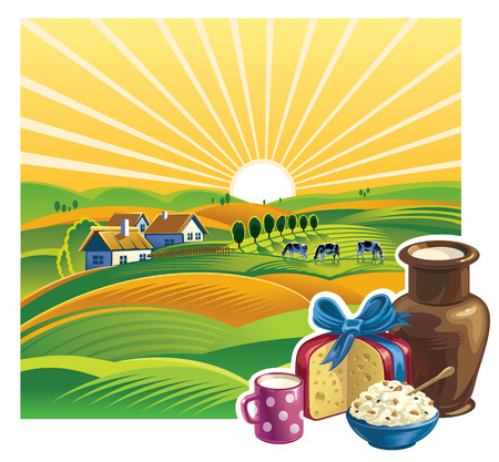 cottage: Landscape with a set of dairy products.