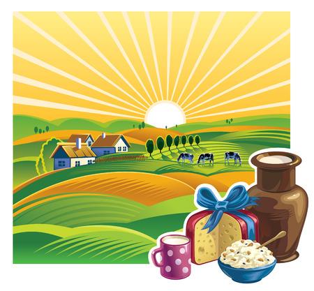 lacteos: Paisaje con un conjunto de productos lácteos.