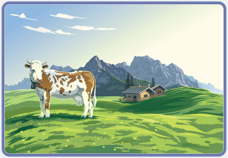 morning dew: Mountain rural landscape with cow. Illustration