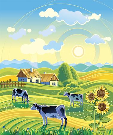 夏の田舎風景と 3 つの牛  イラスト・ベクター素材