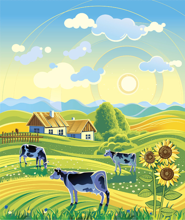 Summer rural landscape and three cows