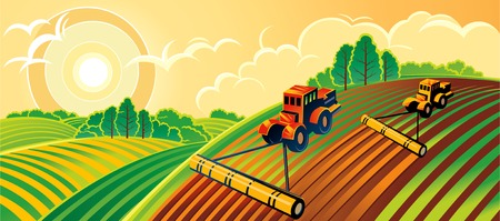 morning dew: Spring country landscape with two tractors Illustration