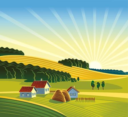 Summer rural landscape. Vektorové ilustrace