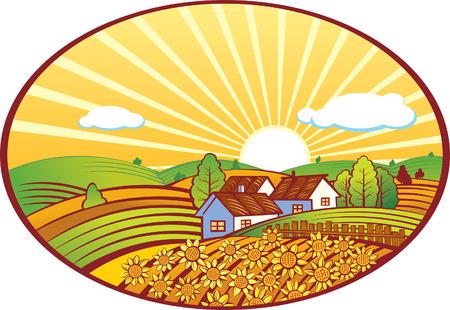 ヒマワリと夏の田園風景のイラスト