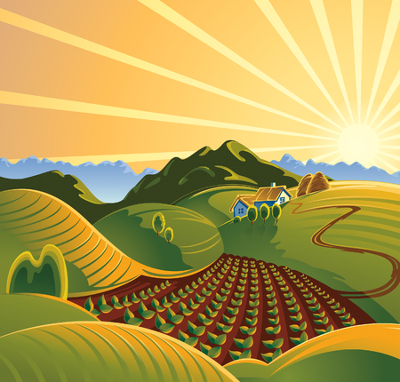 Solar rural landscape with a sunset and mountains Illustration