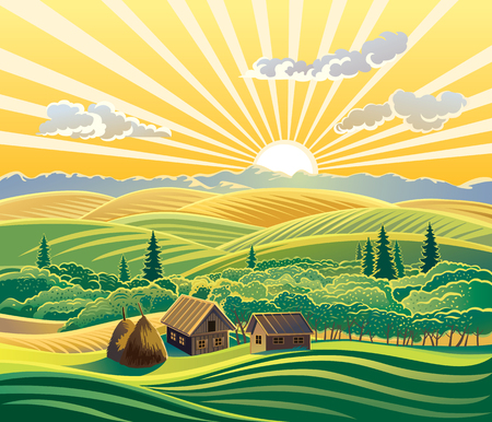 field sunset: Countryside landscape, with houses. Illustration