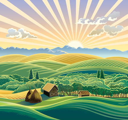 painted background: Rural landscape with a hut.