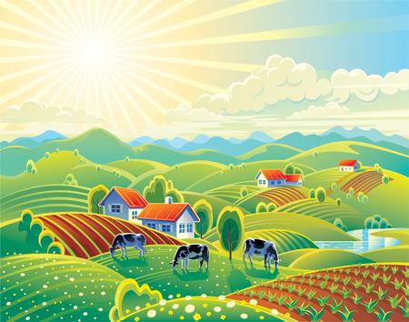 Latem krajobrazu wiejskiego Ilustracja