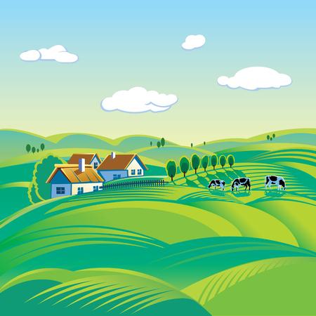 lacteos: día de verano, paisaje rural Vectores