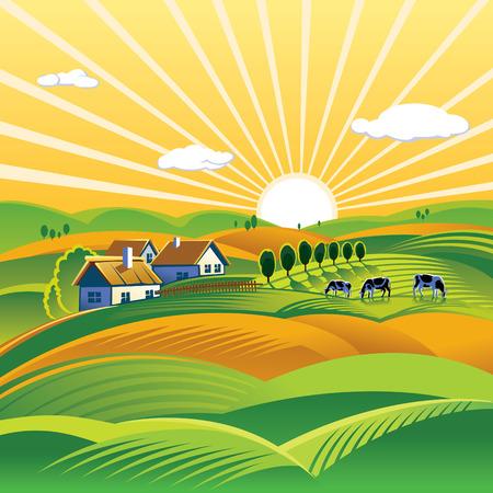 夏の夜の農村風景  イラスト・ベクター素材