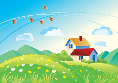 dream house: Summer landscape with houses