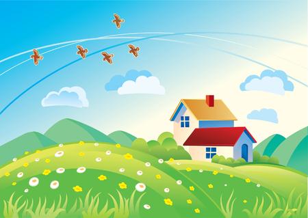 Zomer landschap met huizen