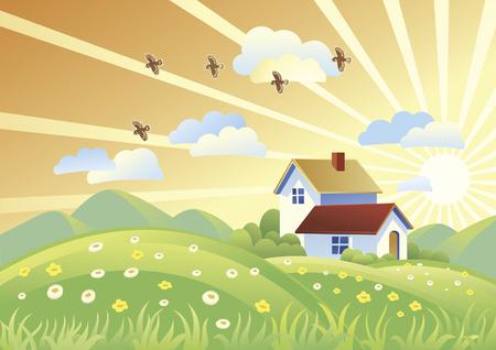 rural landscape: Summer rural landscape with houses.