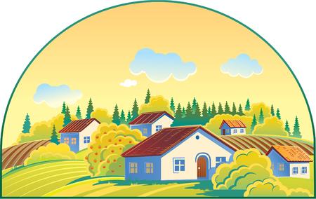rural landscape: Rural Landscape. Cottage village.