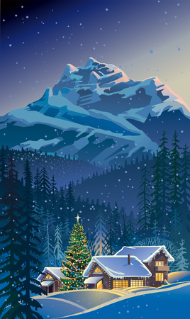 Winter landscape with houses and Christmas tree.