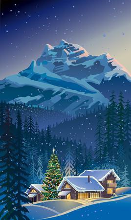 Winterlandschap met huizen en de kerstboom.