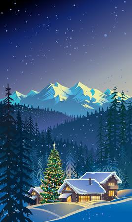 Paisaje de invierno de Navidad. Ilustración de vector