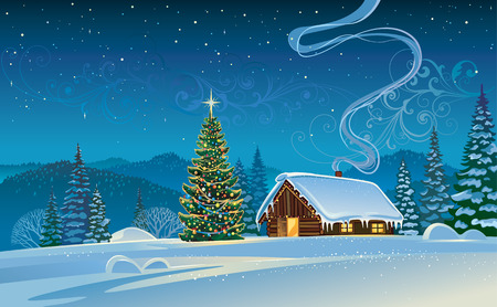 montañas nevadas: paisaje de invierno con un árbol de Navidad.