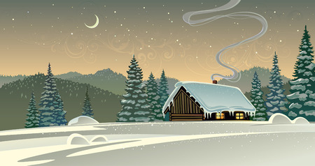 Winter landscape with a timber house.